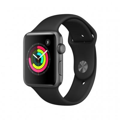 ساعت هوشمند اپل واچ سری 3 رنگ خاکستری بند اسپورت رنگ مشکی 42mm