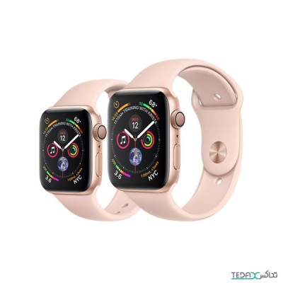 ساعت هوشمند اپل واچ سری 4 رنگ طلایی بند اسپورت رنگ صورتی 40mm