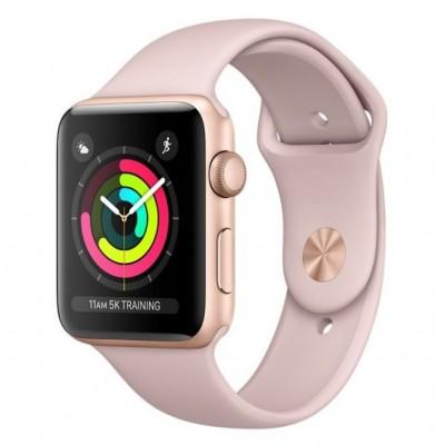 ساعت هوشمند اپل واچ سری 3 رنگ طلایی بند اسپورت  رنگ صورتی 42mm