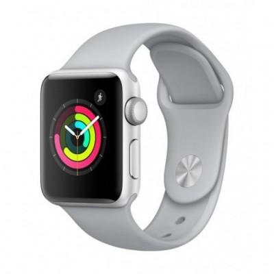 ساعت هوشمند اپل واچ سری 3 رنگ نقره ای بند اسپورت رنگ سفید تیره 42mm