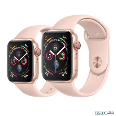 ساعت هوشمند اپل واچ سری 5 رنگ طلایی بند اسپورت رنگ صورتی 44mm