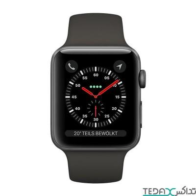 ساعت هوشمند اپل واچ سری 3 رنگ سیاه بند اسپورت  38mm