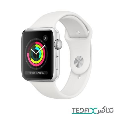 ساعت هوشمند اپل واچ سری 3 رنگ نقره ای بند اسپورت 38mm