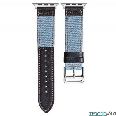 بند اپل واچ طرح جین آبی تیره و مشکی مناسب برای سایز 44/42