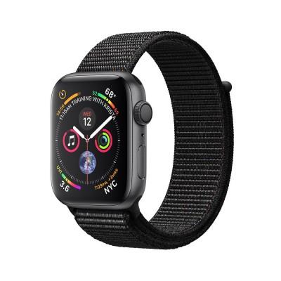ساعت هوشمند اپل واچ سری 4 رنگ خاکستری بند اسپورت لوپ رنگ مشکی 44mm