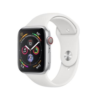 ساعت هوشمند اپل واچ سری 4 رنگ نقره ای بند اسپورت رنگ سفید تیره 44mm
