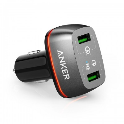 شارژر فندکی 2 پورت  انکر مدل PowerDrive 2 Plus with Quick Charger 3.0 - Anker PowerDrive 2+ with Quick Charge 3.0 Car Charger A2224