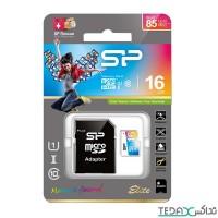 مموری کارت میکرو اس دی با حافظه 16 گیگابایت برند Silicone power مدل Class 10 U1 - Silicone Power UHS-I U1 Class 10 85MBps microSPHC With Adapter - 16GB