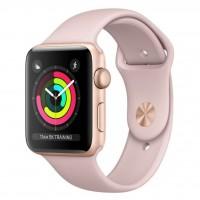 ساعت هوشمند اپل واچ سری 3 رنگ طلایی بند اسپورت  رنگ صورتی 42mm - Apple Watch Series 3 GPS 42mm Gold Aluminum Case with Pink Sand Sport Band
